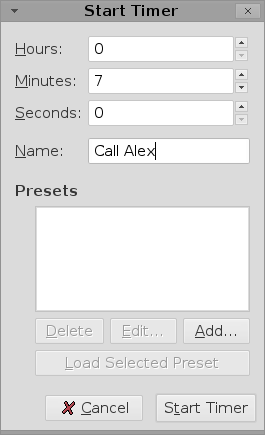 The timer setup dialog box