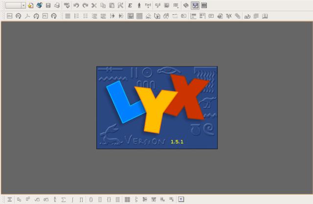 Tampilan awal LyX
