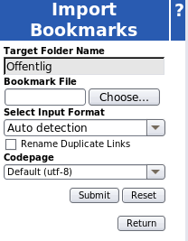 Importing bookmarks