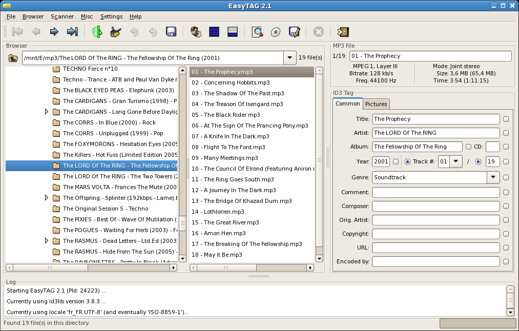 EasyTag main window